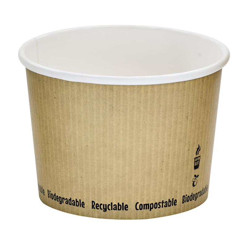 Soup Cup With Rippled Kraft Design - 16oz