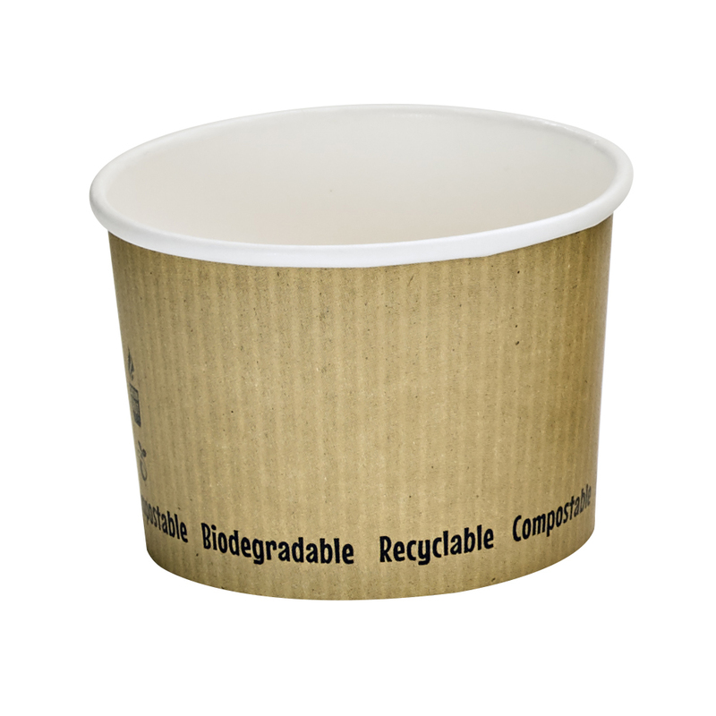 Soup Cup With Rippled Kraft Design - 8oz