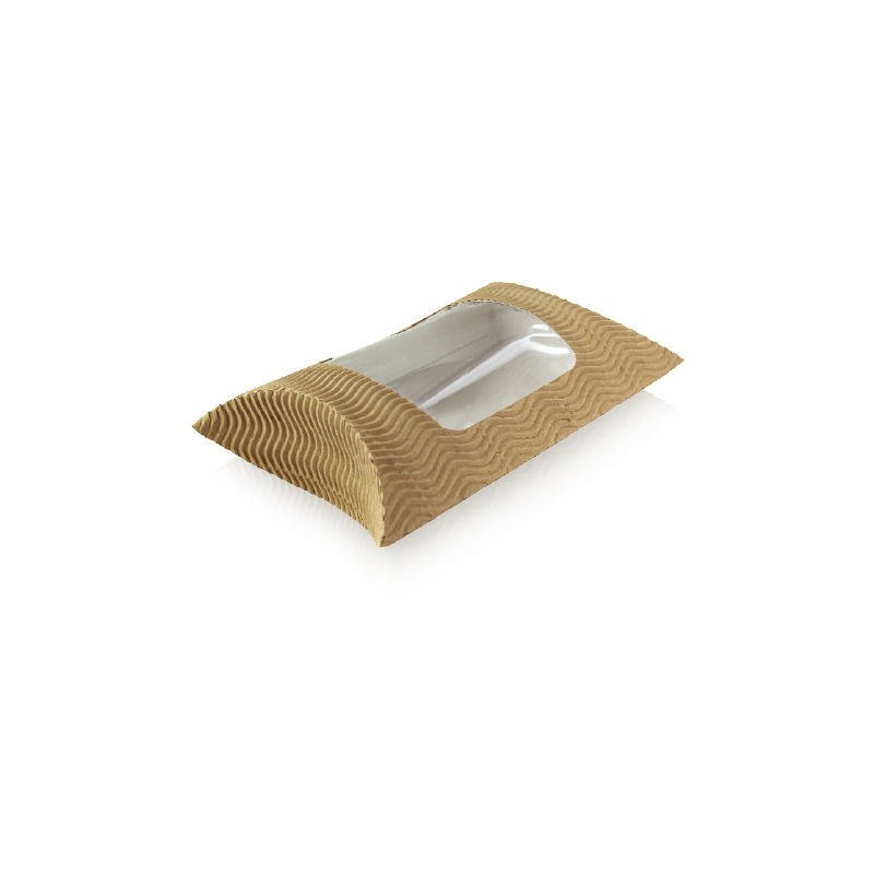 Square Pillow Pack With Window -  L:7.85 x W:5.25 x H:2.2in