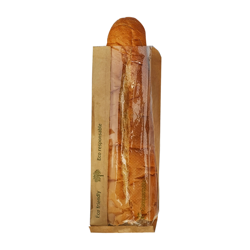 Kraft Paper Sandwich Bag with PLA Window - L: 12.6 in - W: 4.3 in - H: 1.6 in