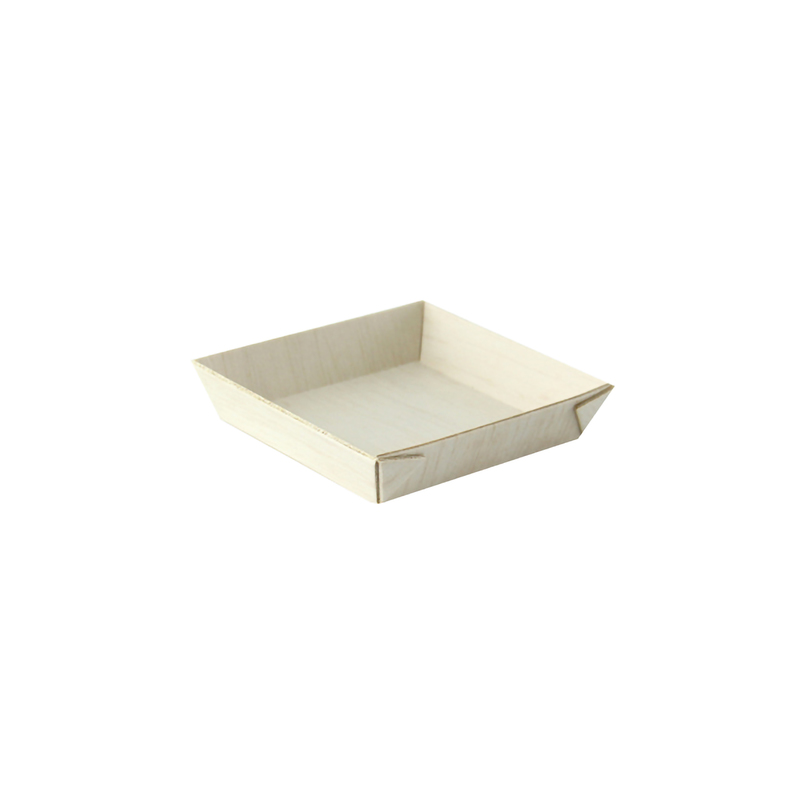 Samurai Mini Square Wooden Tray -  L:2.8 x W:2.8 x H:.6in