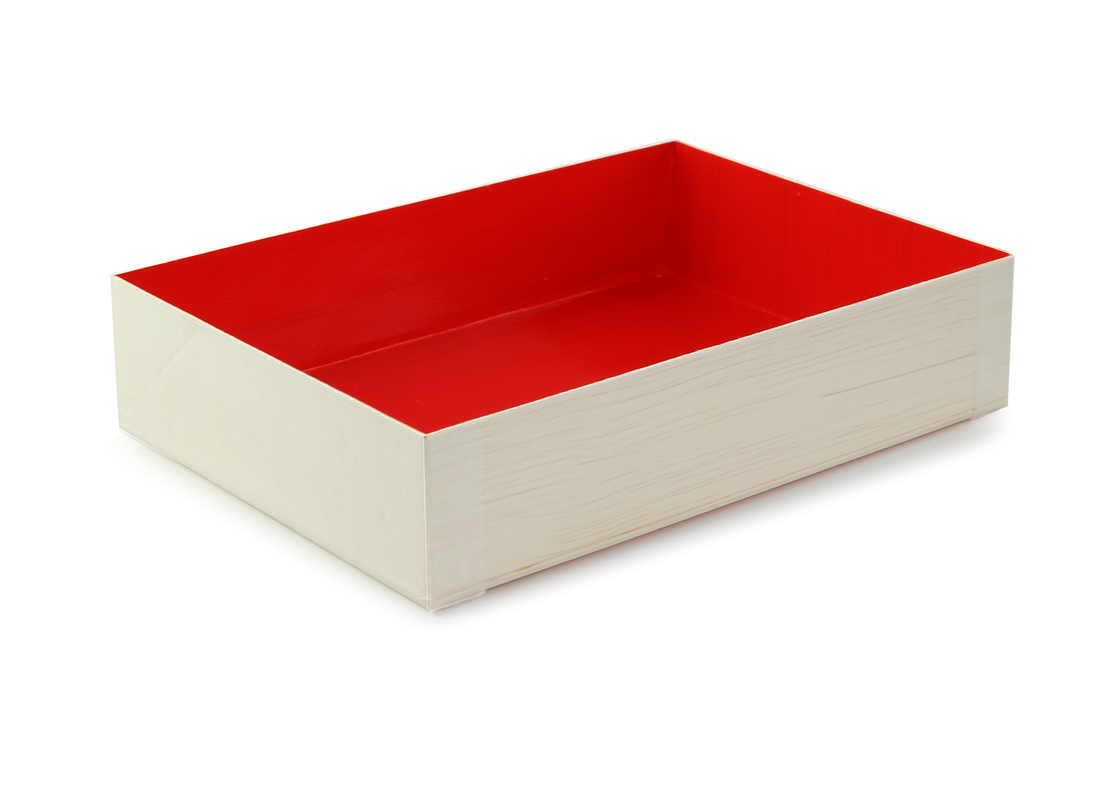 Wooden Folding Box with Red Shiny Interior 4.70 x 1.40 x 6.40 in