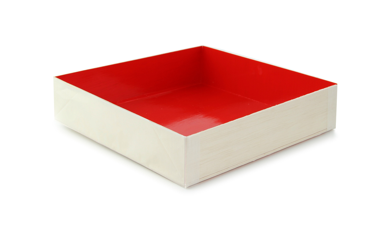 Wooden Folding Box with Red Shiny Interior 6.3 x 6.3 x 1.4 in