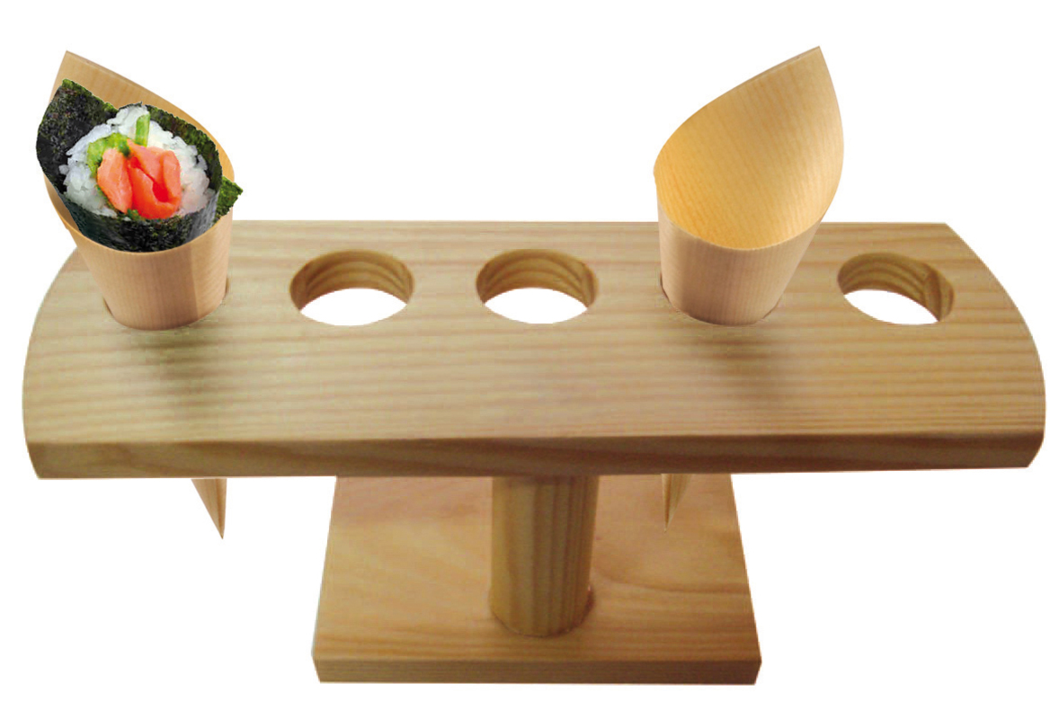 5 Holes Bamboo Cone And Temaki Display - 9.2 x 3.1 x 3.7 in.