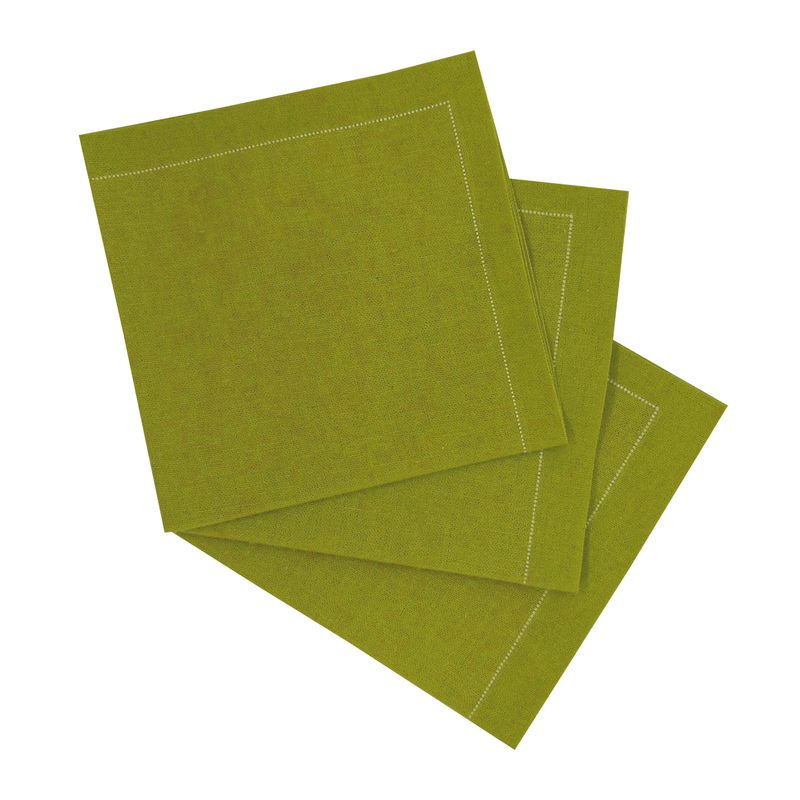Luxury Olive Green Cotton Cocktail Napkin - 7.9 in x 7.9 in