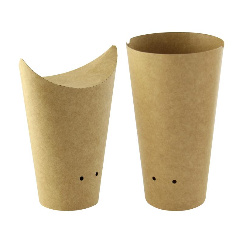 Kraft Closable Perforated Snack Cup - 6.3 in. / Dia: 2.36 in.
