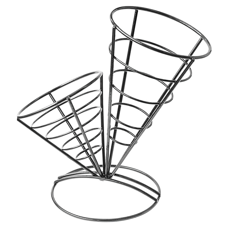 Black Iron Conical Baskets (2 cones) - 10.5 in.