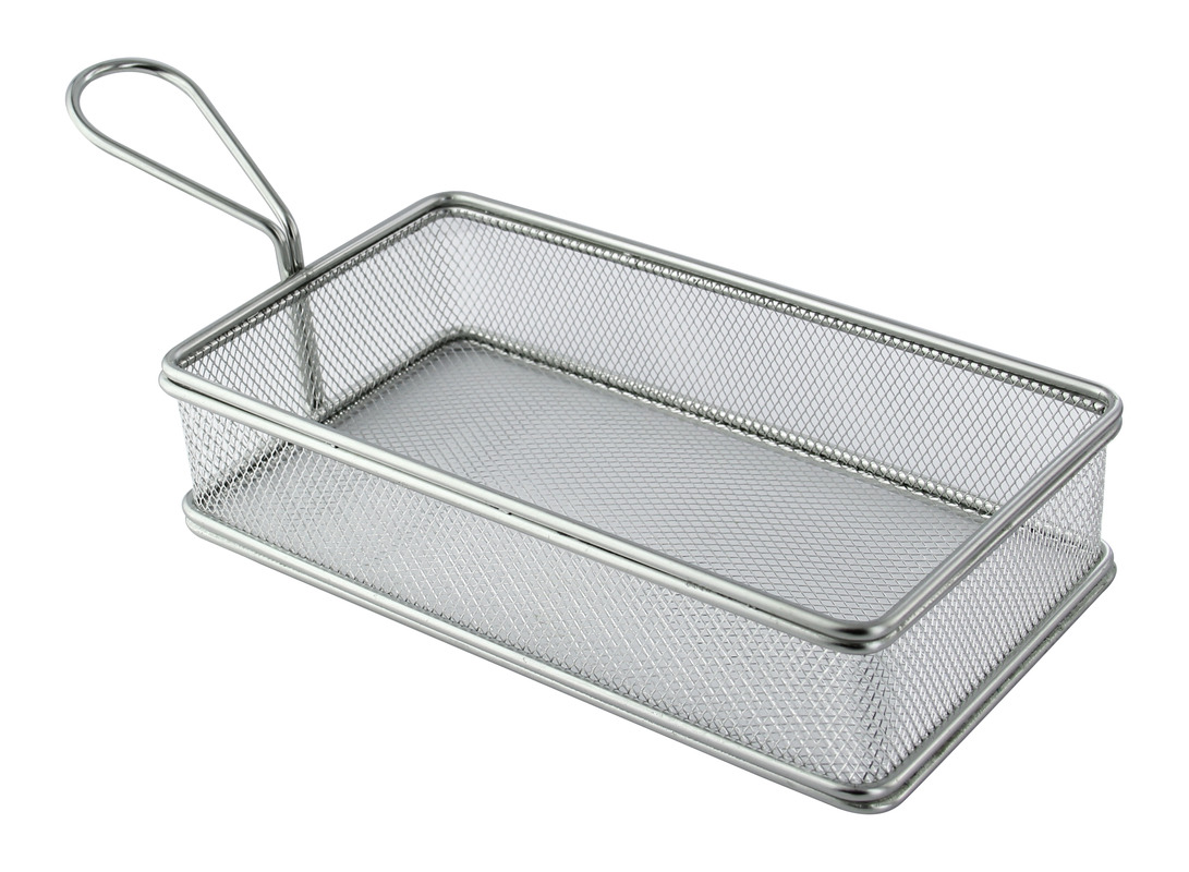 Rectangular Stainless Steel Serving Fry Basket - 9 in.