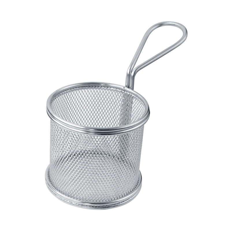 Small Round Stainless Steel Fry Basket - 3.1 in.