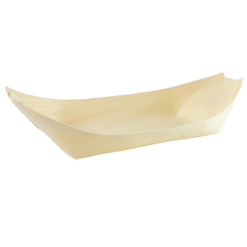 Woodsy Large Wooden Boat -  L:8.7 x W:3.8 x H:1.2in