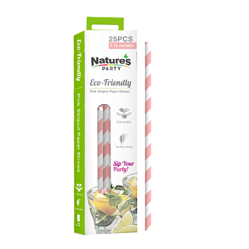 Pink Compostable Paper Straws 7.75 in. - retail - 12 packs of 25 pcs
