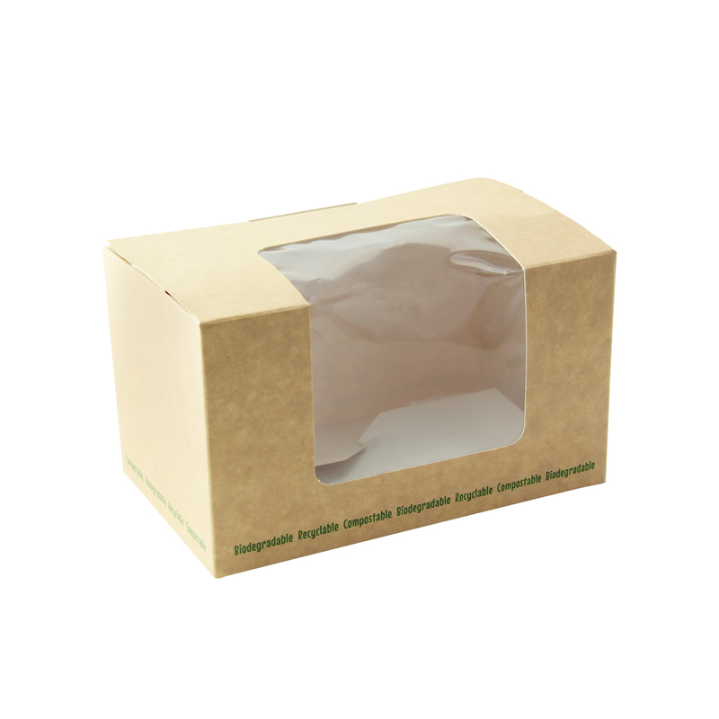 Brown Compostable Wrap Box With Window -  L:5 x W:3 x H:2.85in