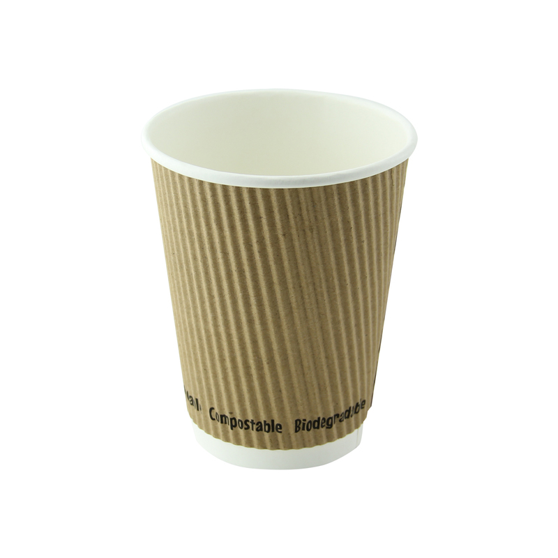Rippled Beige Cups - 12oz  Dia: 3.5