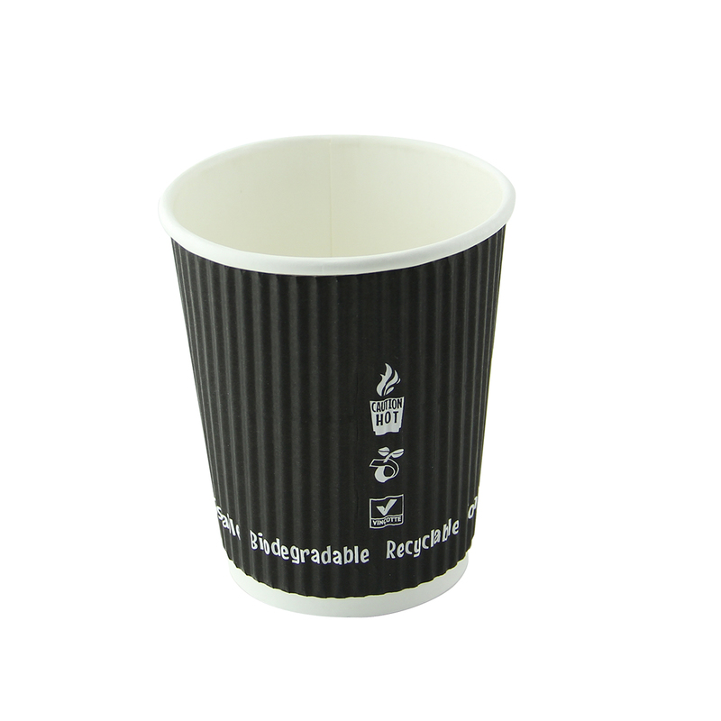 Compostable Rippled Black Cups - 4 oz Dia: 2.4