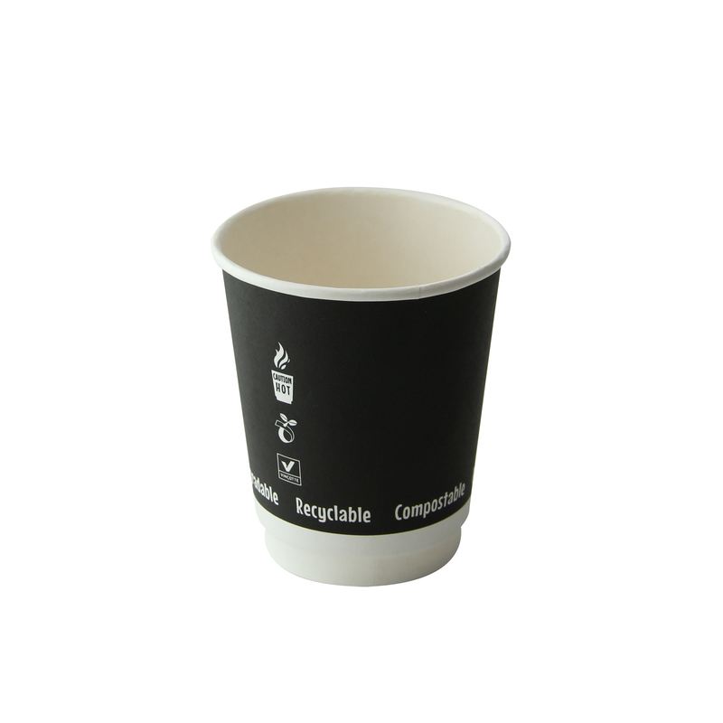 Double Wall Black Compostable Paper Cups - 8 oz Dia: 3.15'' H: 3.5''