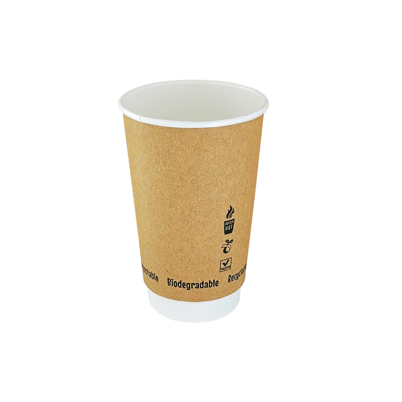 Double Wall Kraft Compostable Paper Cups - 12oz Dia:3.5in H:4.3in