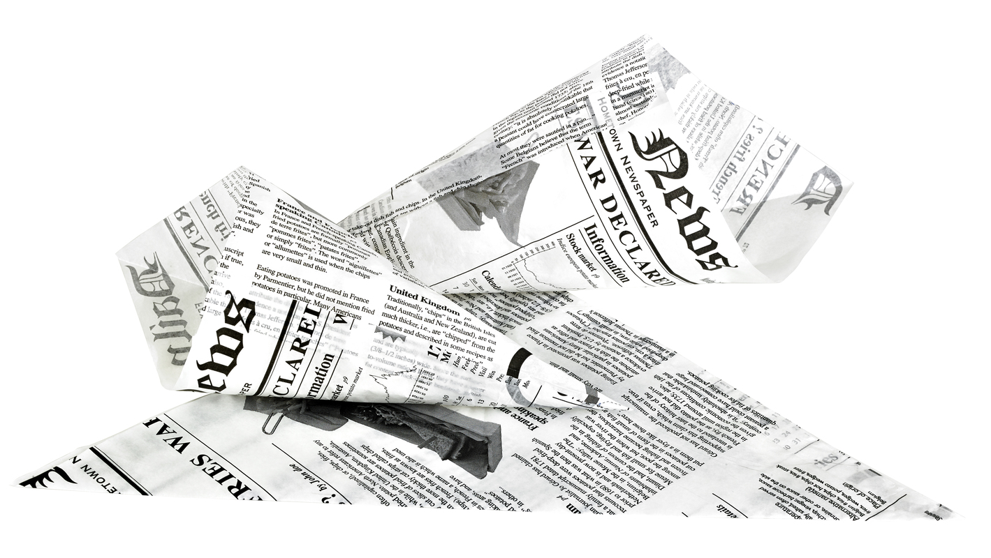 Greaseproof Paper Cones Newspaper Printed - 8.7 in.