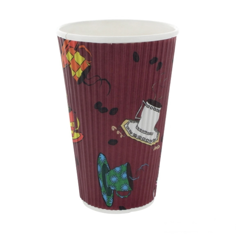Rippled Wall Coffee Cup With Designs - 16oz