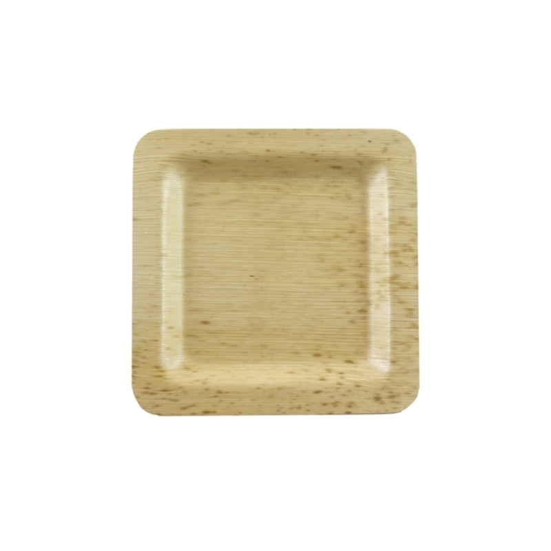 Square Bamboo Leaf Plate 4.7 x 4.7 in