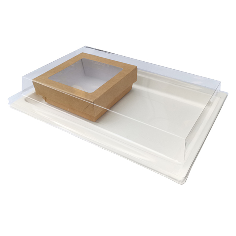 VIP Sugarcane Serving Tray Kit &  Kraft Box With A Window Lid
