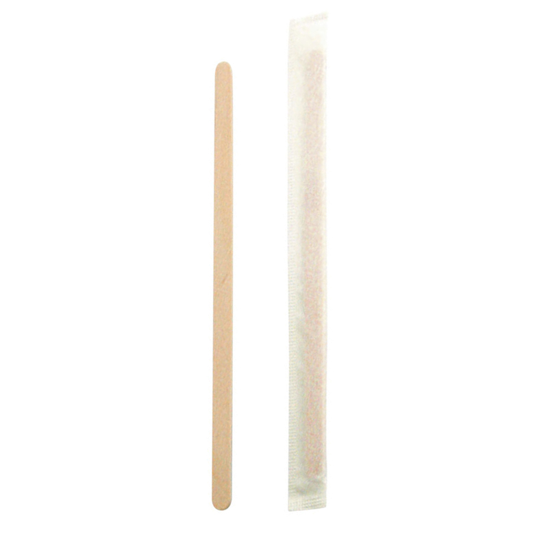 Individually wrapped wooden coffee stirrer with rounded end in dispenser box - 5.5in