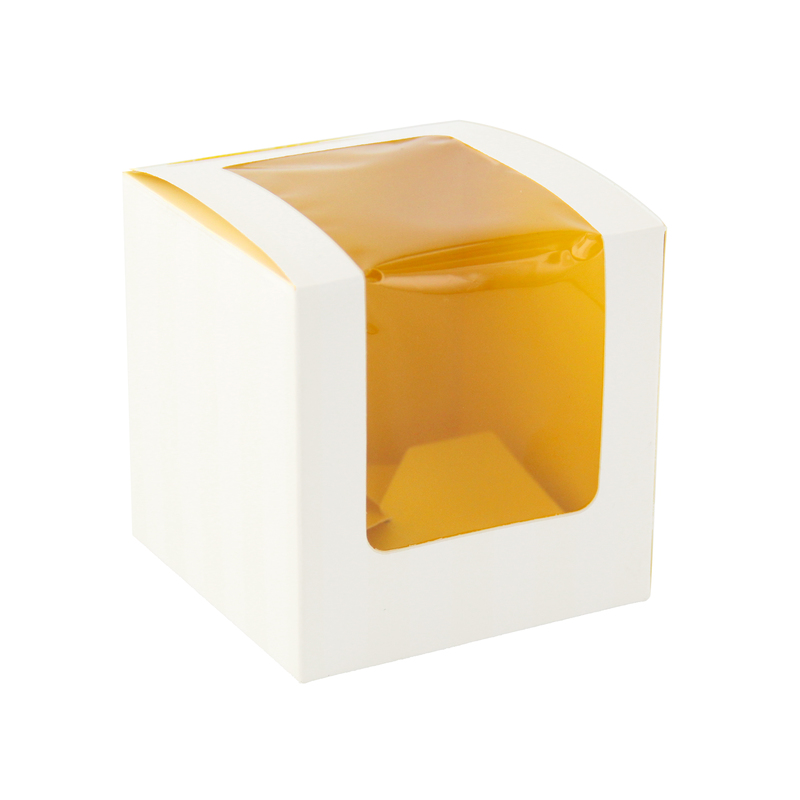 Yellow Cupcake Box With Window (1 Piece) -  L:3.35 x W:3.35 x H:3.35in