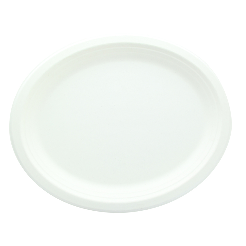 Oval Sugarcane Plate 12.2 x 9.4 in
