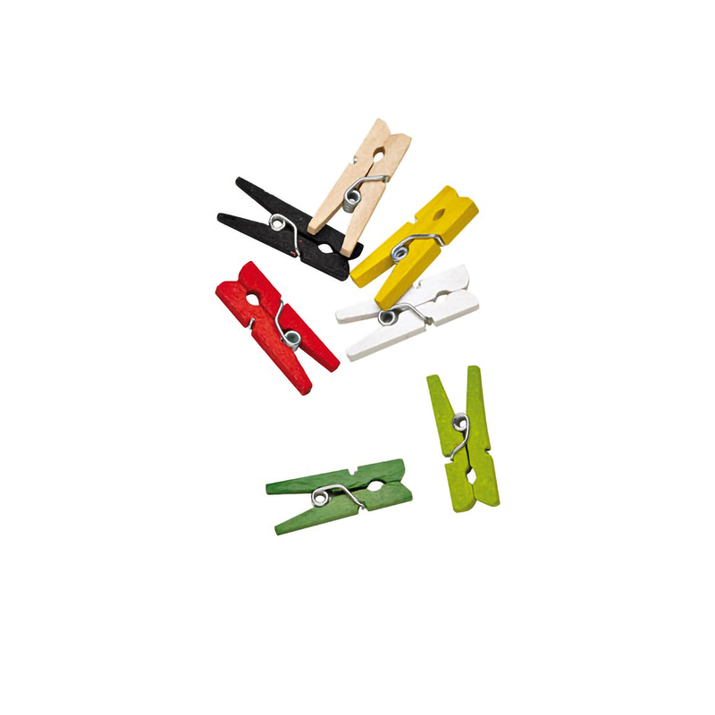 Assorted Colors Mini Wooden Clothespin -  L:.98 x W:.36in