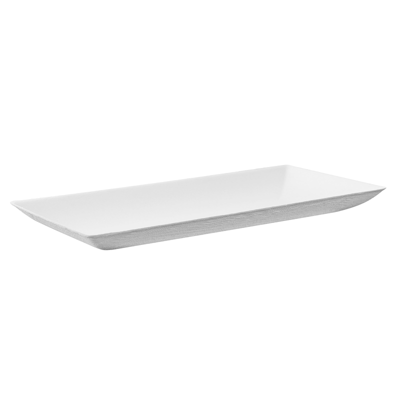 Bio N Chic Rectangular White Sugarcane Plate -  L:7.08 x W:3.55 x H:.5in