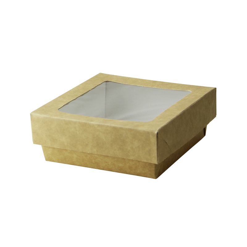 Kraft Kray Boxes With Pet Window Lid -12oz  L:4 x W:3.95 x H:1.55in