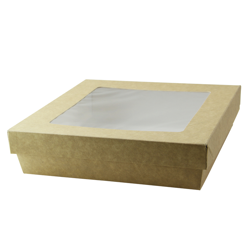 Kraft Kray Boxes With Pet Window Lid -60oz  L:7.5 x W:7.5 x H:2in