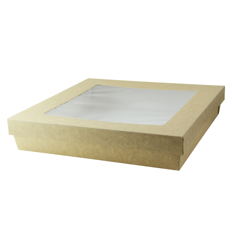 Kraft Kray Boxes With Pet Window Lid -102oz  L:9 x W:9 x H:1.8in