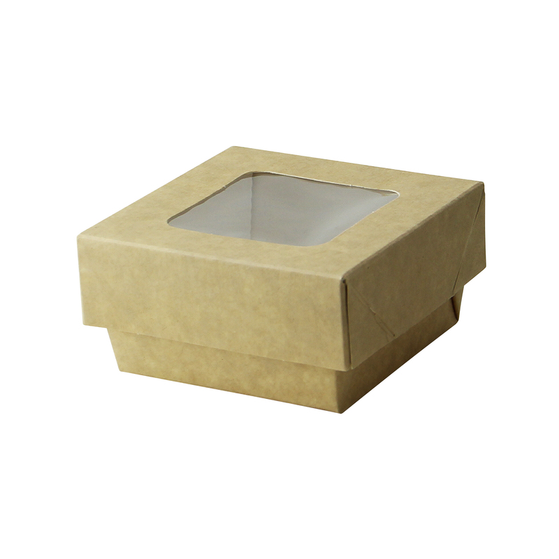 Kraft Kray Boxes With Pet Window Lid -7oz  L:2.75 x W:2.75 x H:1.5in