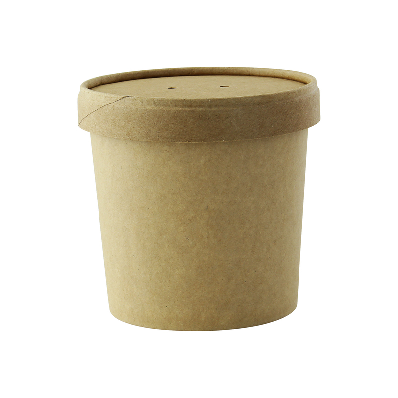 Brown Kraft Soup Cup With Kraft Lid Included -12oz Dia:3.5in H:.65in