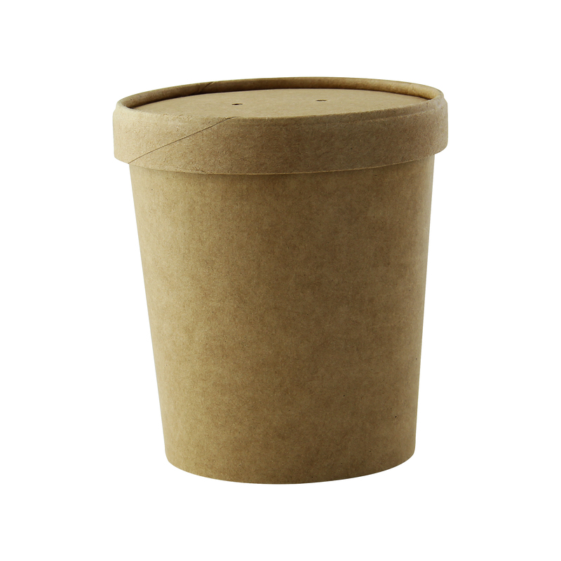Brown Kraft Soup Cup With Kraft Lid Included -16oz Dia:3.7in H:3.8in