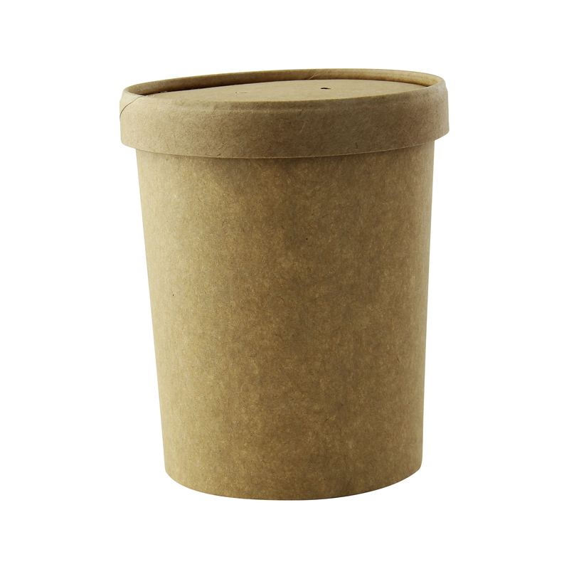 Brown Kraft Soup Cup With Kraft Paper Vented Lid - 18oz