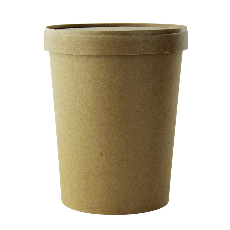 Brown Kraft Soup Cup With Kraft Paper Vented Lid - 32oz