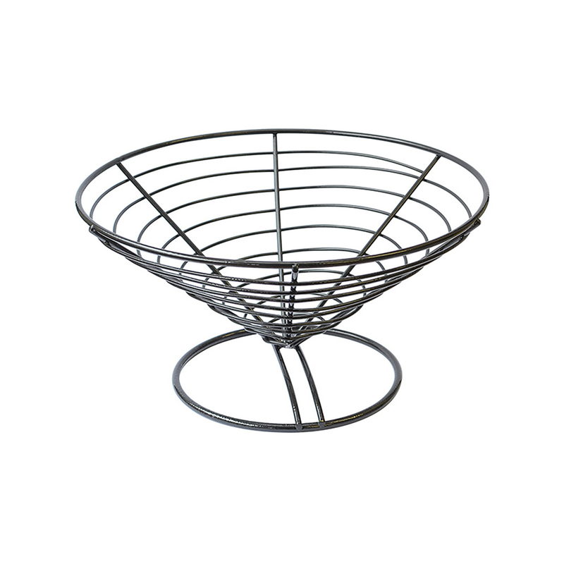 Round Black Steel Basket - 9 in.