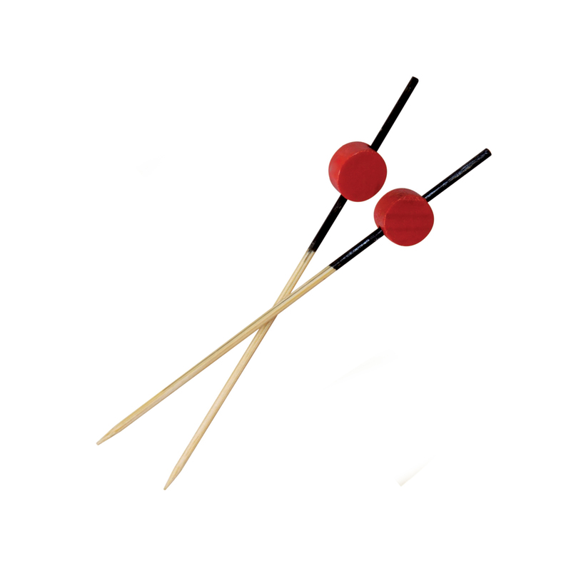 ATAMI - Bamboo Pick Black End With Red Bead - 3.1 in.