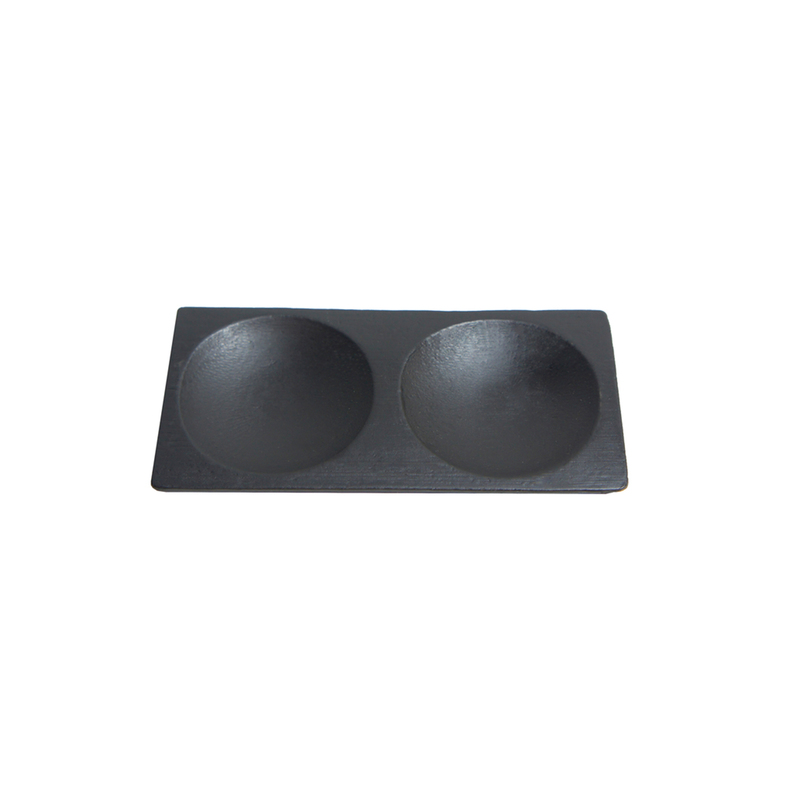 Mini Black Bamboo Plate 2 Compartments -  L:4.7 x W:2.3 x H:.4in