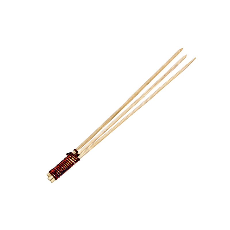 Bamboo Skewer 3 Prong With Tied End - 3.1 in.