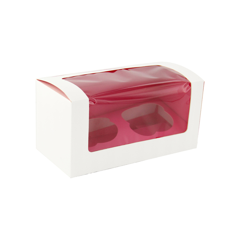 Pink Cupcake Box With Window (2 Pieces) -  L:6.9 x W:3.3 x H:3.3in