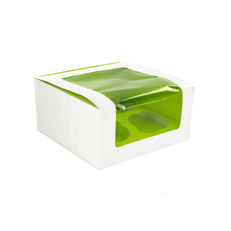 Green Cupcake Box With Window (4 Pieces) -  L:6.7 x W:6.7 x H:3.3in