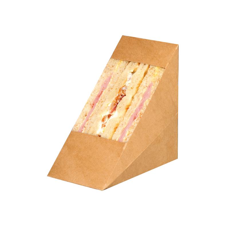 Kraft Triple Sandwich Box With Pet Window -  L:4.8 x W:2.8 x H:4.8 in