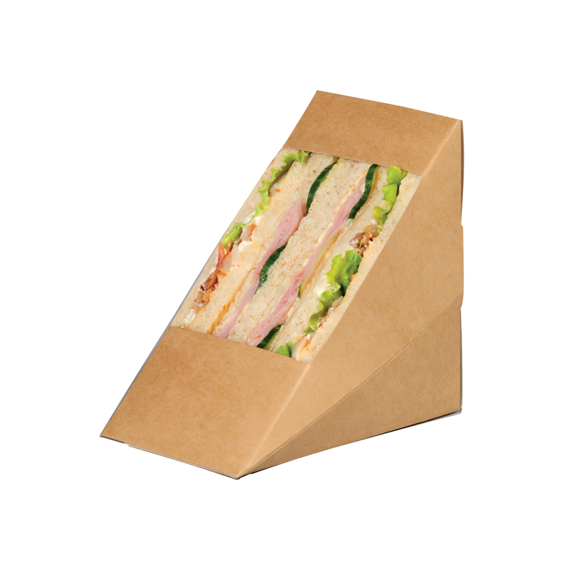 Kraft Xl Triple Sandwich Box With Pet Window -  L:4.8 x W:3.2 x H:4.8 in