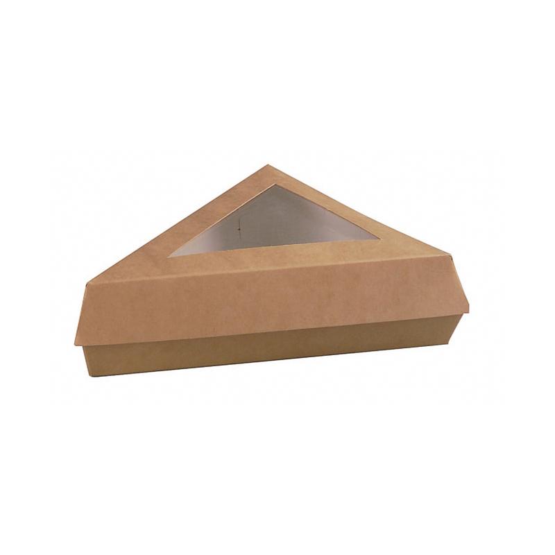 Kraft Slice Box With Pe Window Lid -12oz  L:6.6 x W:6.6 x H:5.1in
