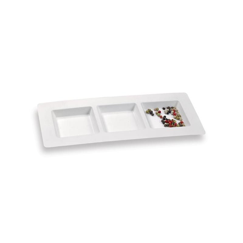 3 Compartment White Sugarcane Plate -  L:10 x W:4.3 x H:.55in