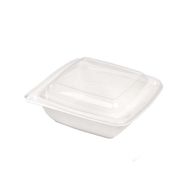 Square White Sugarcane Salad Bowl -25oz  L:7.3 x W:7.3 x H:1.8in