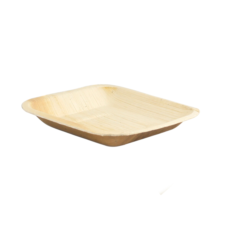 Square Palm Leaf Plate with Round Corners - 6.3 x 6.3 in