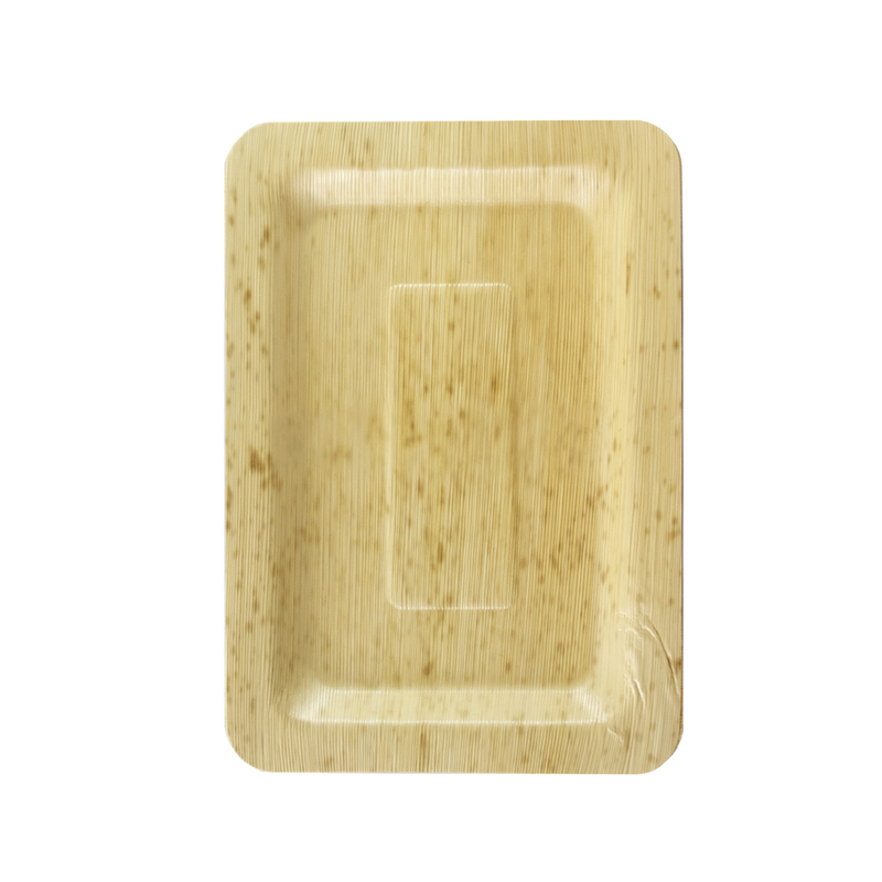 Rectangular Bamboo Leaf Double Layer Plate -  L:8 x W:5.5 x H:.45in